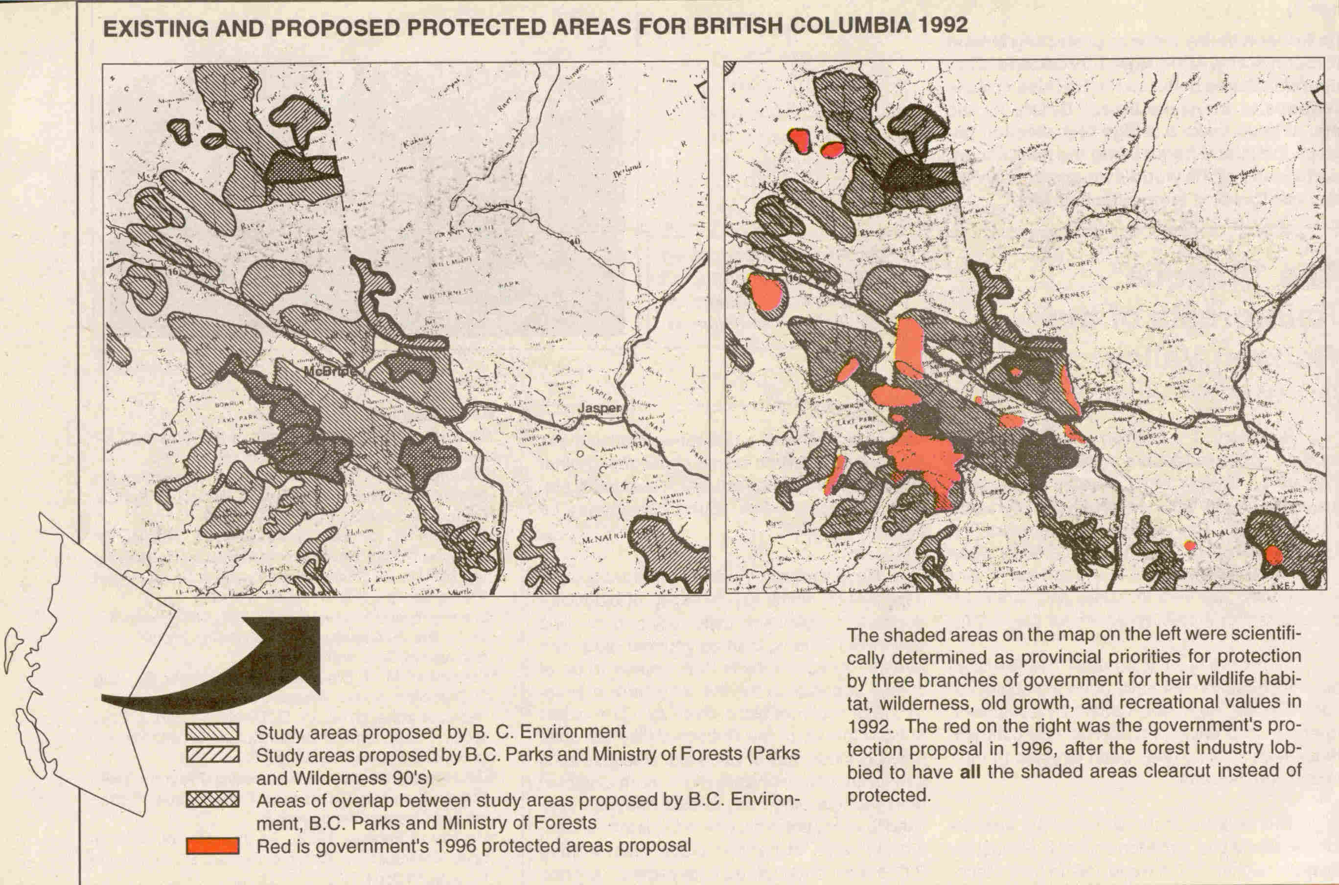 Protected Areas for BC 1992 and 1996 (257K)